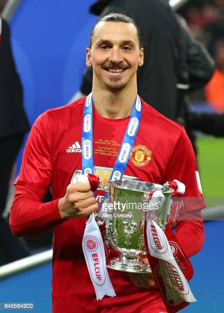 Zlatan Ibrahimovic of Manchester United celebrates victory with the trophy after during the EFL Cup Final between Manchester United and Southampton...