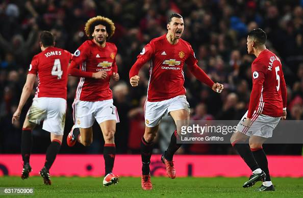 Zlatan Ibrahimovic of Manchester United celebrates with team mates as he scores their first and equalising goal during the Premier League match...