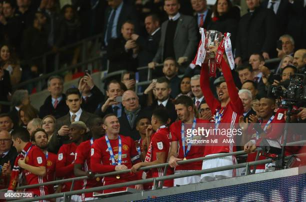 Zlatan Ibrahimovic of Manchester United celebrates with the trophy during the EFL Cup Final match between Manchester United and Southampton at...
