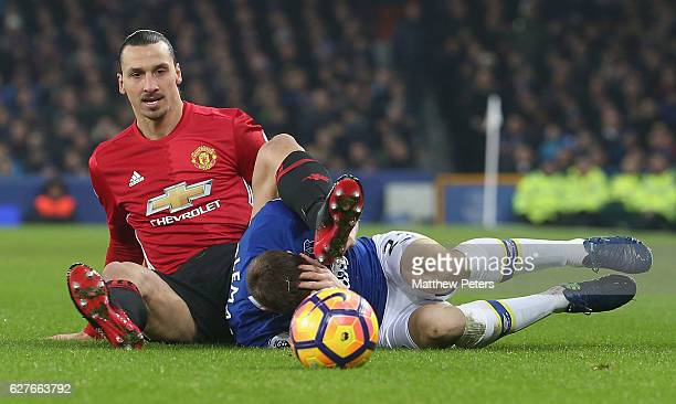 Zlatan Ibrahimovic of Manchester United clashes with Seamus Coleman of Everton during the Premier League match between Everton and Manchester United...