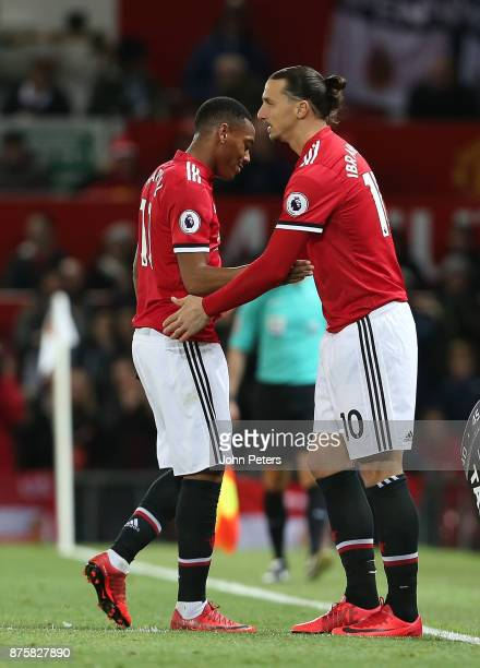 Zlatan Ibrahimovic of Manchester United comes on as a substitute for Anthony Martial during the Premier League match between Manchester United and...