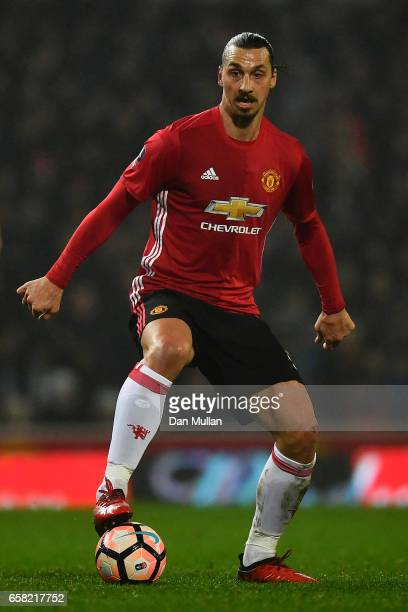 Zlatan Ibrahimovic of Manchester United controls the ball during the Emirates Cup Fifth Round match between Blackburn Rovers and Manchester United at...