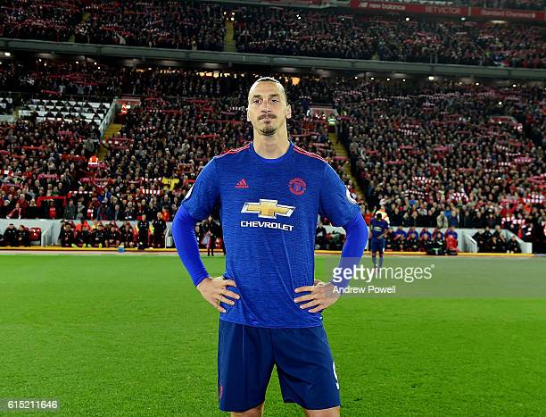 Zlatan Ibrahimovic of Manchester United during the Premier League match between Liverpool and Manchester United at Anfield on October 17 2016 in...