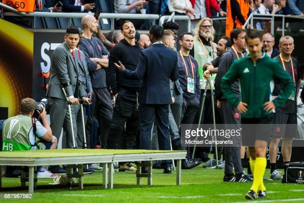 Zlatan Ibrahimovic of Manchester United during the UEFA Europa League final between Ajax and Manchester United at Friends Arena on May 24 2017 in...