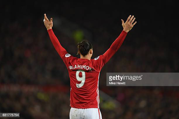 Zlatan Ibrahimovic of Manchester United gestures during the Premier League match between Manchester United and Liverpool at Old Trafford on January...