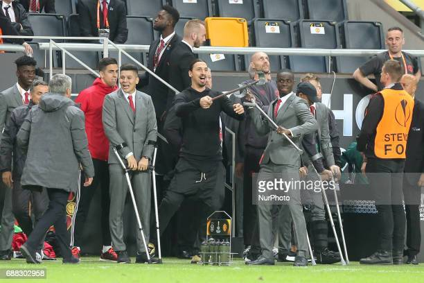 Zlatan Ibrahimovic of Manchester United gestures on the touchline during the UEFA Europa League Final match between Ajax and Manchester United at...