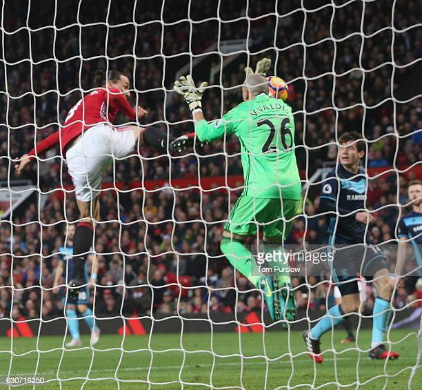 Zlatan Ibrahimovic of Manchester United has a goal disallowed for high feet during the Premier League match between Manchester United and...