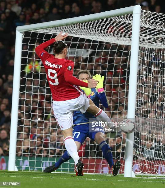 Zlatan Ibrahimovic of Manchester United hits the post during the UEFA Europa League Round of 16 second leg match between Manchester United and FK...