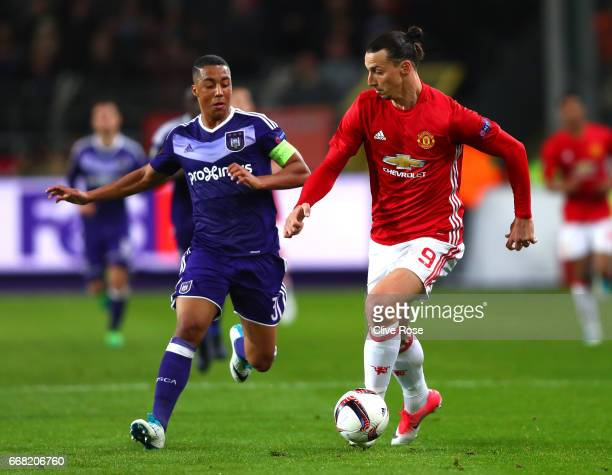 Zlatan Ibrahimovic of Manchester United holds off Youri Tielemans of RSC Anderlecht uring the UEFA Europa League quarter final first leg match...