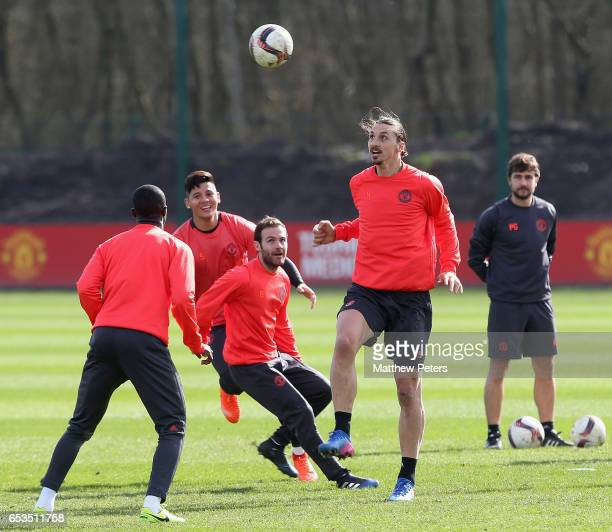 Zlatan Ibrahimovic of Manchester United in action during a first team training session at Aon Training Complex on March 15 2017 in Manchester England