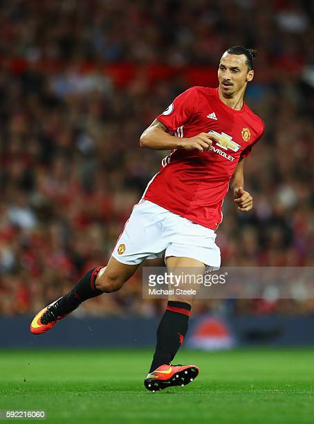 Zlatan Ibrahimovic of Manchester United in action during the Premier League match between Manchester United and Southampton at Old Trafford on August...