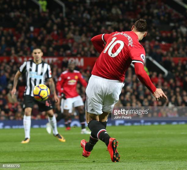 Zlatan Ibrahimovic of Manchester United in action during the Premier League match between Manchester United and Newcastle United at Old Trafford on...