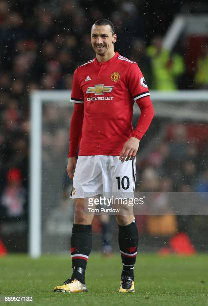 Zlatan Ibrahimovic of Manchester United in action during the Premier League match between Manchester United and Manchester City at Old Trafford on...
