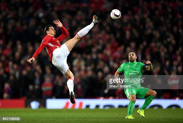 Zlatan Ibrahimovic of Manchester United in action during the UEFA Europa League Round of 32 first leg match between Manchester United and AS...