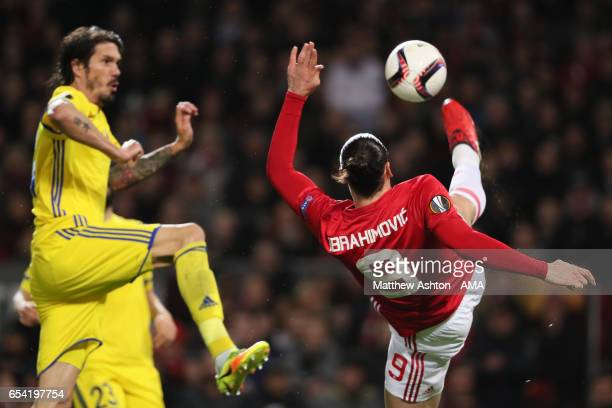 Zlatan Ibrahimovic of Manchester United in action during the UEFA Europa League Round of 16 second leg match between Manchester United and FK Rostov...