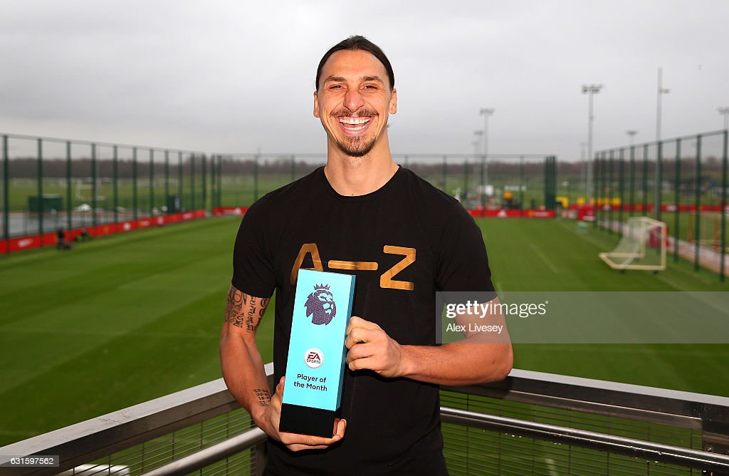 Zlatan Ibrahimovic of Manchester United is presented with the EA Premier League Player of the Month Award at Aon Training Complex on January 12, 2017 in Manchester, England.