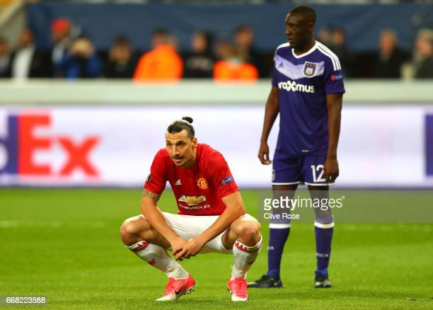 Zlatan Ibrahimovic of Manchester United looks dejected during the UEFA Europa League quarter final first leg match between RSC Anderlecht and...