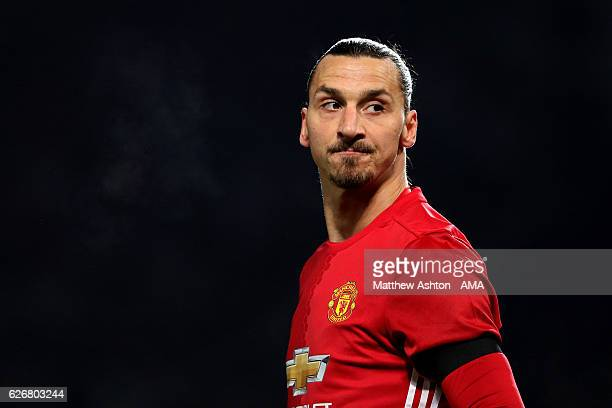 Zlatan Ibrahimovic of Manchester United looks on during the EFL Cup QuarterFinal match between Manchester United and West Ham United at Old Trafford...