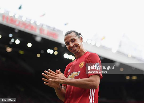 Zlatan Ibrahimovic of Manchester United looks on during the Premier League match between Manchester United and Leicester City at Old Trafford on...