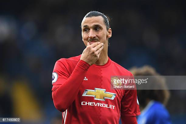 Zlatan Ibrahimovic of Manchester United looks on during the Premier League match between Chelsea and Manchester United at Stamford Bridge on October...
