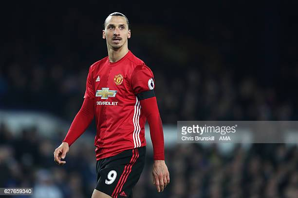 Zlatan Ibrahimovic of Manchester United looks on during the Premier League match between Everton and Manchester United at Goodison Park on December 4...