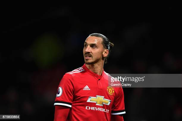Zlatan Ibrahimovic of Manchester United looks on during the Premier League match between Manchester United and Newcastle United at Old Trafford on...