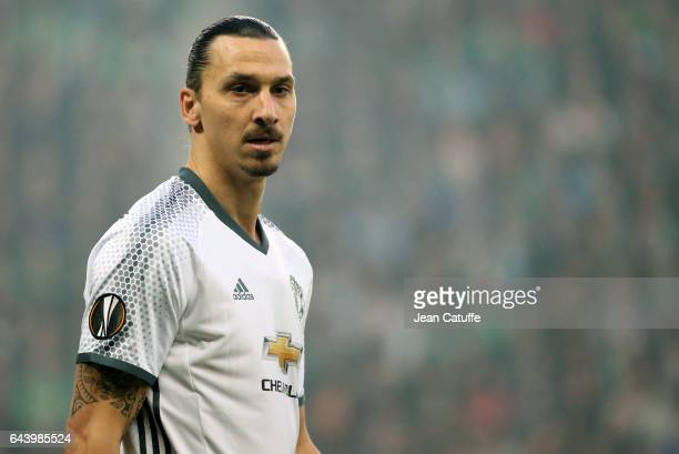 Zlatan Ibrahimovic of Manchester United looks on during the UEFA Europa League Round of 32 second leg match between AS SaintEtienne and Manchester...