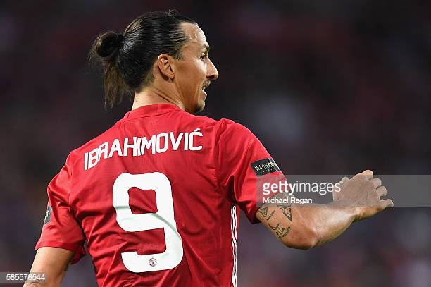 Zlatan Ibrahimovic of Manchester United looks on during the Wayne Rooney Testimonial match between Manchester United and Everton at Old Trafford on...