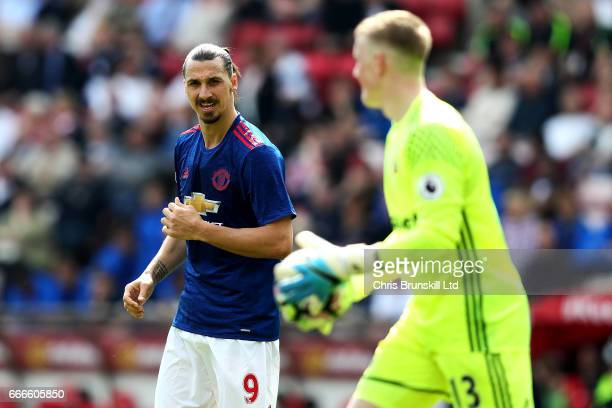 Zlatan Ibrahimovic of Manchester United looks on towards Jordan Pickford of Sunderland during the Premier League match between Sunderland and...