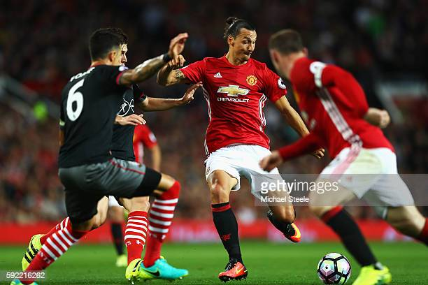 Zlatan Ibrahimovic of Manchester United looks to shoot during the Premier League match between Manchester United and Southampton at Old Trafford on...