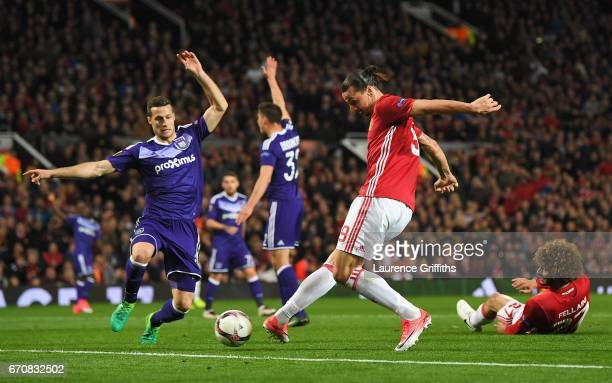 Zlatan Ibrahimovic of Manchester United misses a chance during the UEFA Europa League quarter final second leg match between Manchester United and...