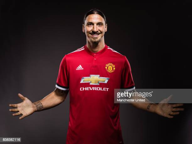 Zlatan Ibrahimovic of Manchester United poses after signing a new contract on August 24 2017 in Manchester England
