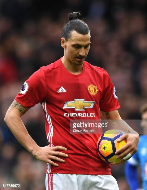 Zlatan Ibrahimovic of Manchester United prepares to take a penalty during the Premier League match between Manchester United and AFC Bournemouth at...