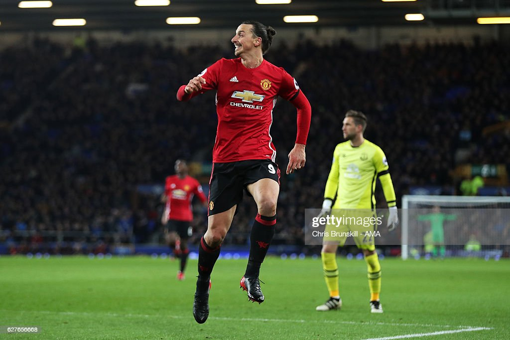 Zlatan Ibrahimovic of Manchester United reacts after scoring the first goal to make the score 0-1 during the Premier League match between Everton and Manchester United at Goodison Park on December 4, 2016 in Liverpool, England.