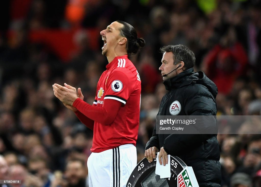 Zlatan Ibrahimovic of Manchester United reacts before being substituted during the Premier League match between Manchester United and Newcastle United at Old Trafford on November 18, 2017 in Manchester, England.