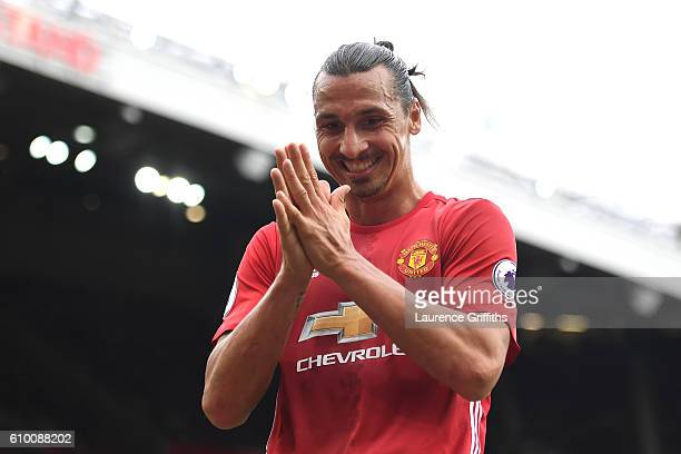 Zlatan Ibrahimovic of Manchester United reacts during the Premier League match between Manchester United and Leicester City at Old Trafford on...