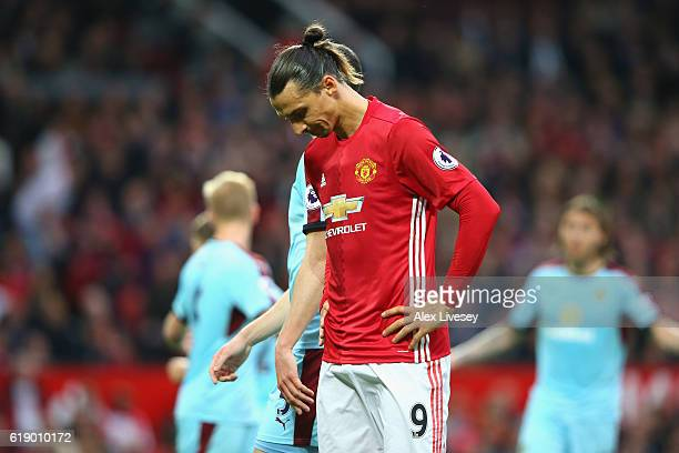 Zlatan Ibrahimovic of Manchester United reacts during the Premier League match between Manchester United and Burnley at Old Trafford on October 29...