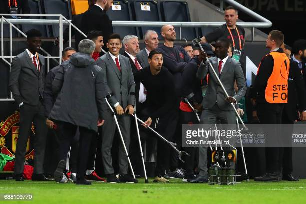 Zlatan Ibrahimovic of Manchester United reacts on the touchline during the UEFA Europa League Final match between Ajax and Manchester United at...