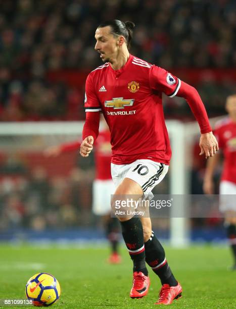 Zlatan Ibrahimovic of Manchester United runs with the ball during the Premier League match between Manchester United and Brighton and Hove Albion at...