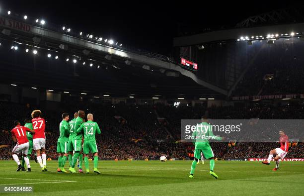 Zlatan Ibrahimovic of Manchester United scores his sides first goal during the UEFA Europa League Round of 32 first leg match between Manchester...