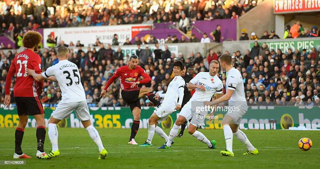 Zlatan Ibrahimovic of Manchester United scores his sides second goal during the Premier League match between Swansea City and Manchester United at Liberty Stadium on November 6, 2016 in Swansea, Wales. (Photo by Stu Forster/Getty Images
