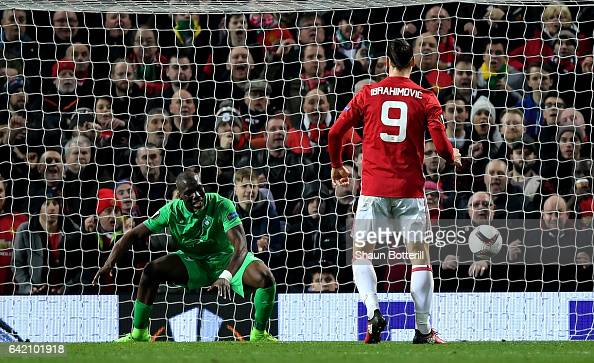 Zlatan Ibrahimovic of Manchester United scores his sides second goal during the UEFA Europa League Round of 32 first leg match between Manchester...