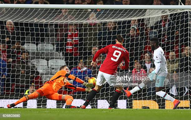 Zlatan Ibrahimovic of Manchester United scores his team's fourth goal of the game during the EFL Cup quarter final match between Manchester United...