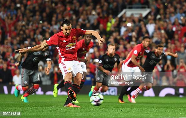 Zlatan Ibrahimovic of Manchester United scores his team's second goal from the penalty spot during the Premier League match between Manchester United...