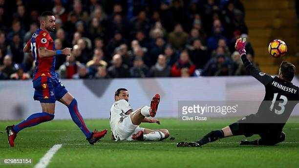 Zlatan Ibrahimovic of Manchester United scores his team's second goal during the Premier League match between Crystal Palace and Manchester United at...