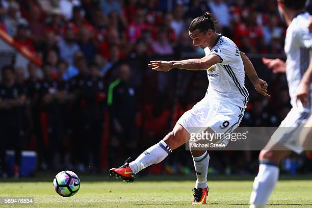 Zlatan Ibrahimovic of Manchester United scores his team's third goal during the Premier League match between AFC Bournemouth and Manchester United at...