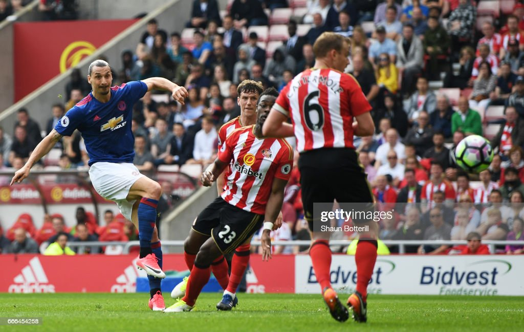 Zlatan Ibrahimovic of Manchester United scores the opening goal during the Premier League match between Sunderland and Manchester United at Stadium of Light on April 9, 2017 in Sunderland, England.