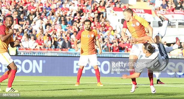 Zlatan Ibrahimovic of Manchester United scores their first goal during the preseason friendly match between Manchester United and Galatasaray at...