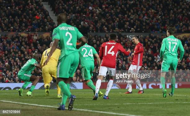 Zlatan Ibrahimovic of Manchester United scores their second goal during the UEFA Europa League Round of 32 first leg match between Manchester United...