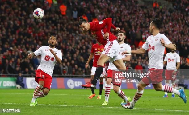 Zlatan Ibrahimovic of Manchester United scores their third goal during the EFL Cup Final between Manchester United and Southampton at Wembley Stadium...
